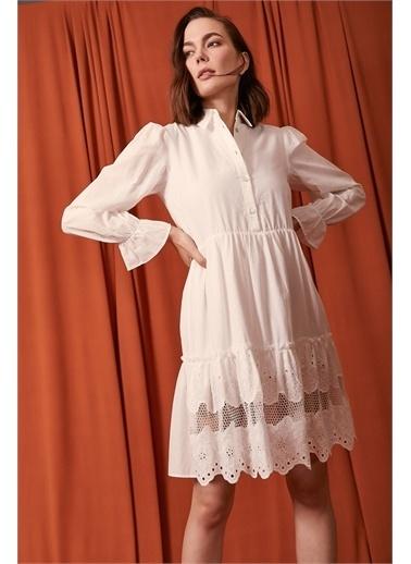 Never More Uzun Kol İşlemeli Elbise Beyaz